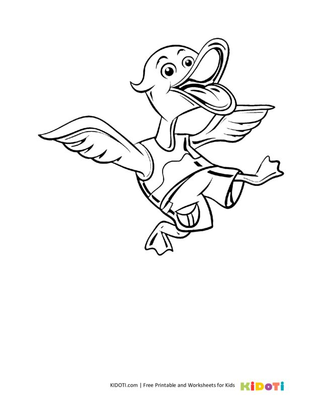 Funny duck coloring pages